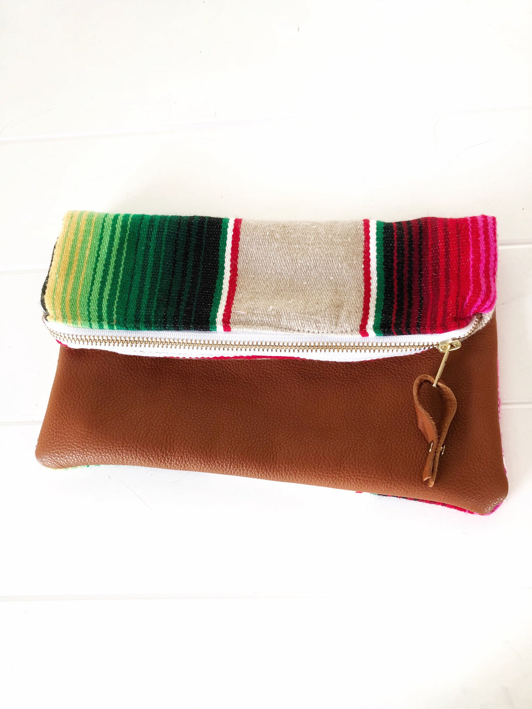 Ready to Ship! Serape and Leather Clutch