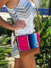 Load image into Gallery viewer, Small Light Blue  Serape and Leather Crossbody Purse