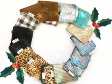 Load image into Gallery viewer, 17 leather wallet in a wreath shape , cheetah metallic wallet, black solid, gingham plaid, brown leather, silver shiny mermaid leather, turquoise mermaid scale leather, rose gold , rainbow scale and black leather wallets