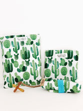 Load image into Gallery viewer, Cactus Wet Bags Blue and Green, washable, Waterproof, wipeable