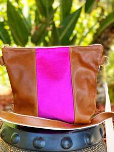 Pink is Hot Brown Stripe Purse