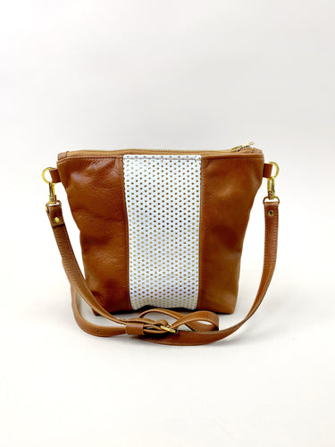 Gold Dot on White & Brown Stripe Purse