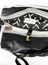 Load image into Gallery viewer, Black and White Serape and Leather and  Foldover Crossbody Purse