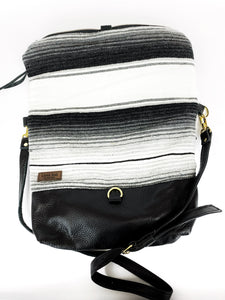 Black and White Serape and Leather and  Foldover Crossbody Purse