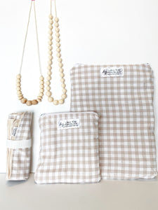 Creamy Plaid Wipeable Changing Mat