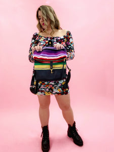 Purple Serape and Black Leather and  Foldover Backpack