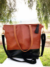 Load image into Gallery viewer, Leather Colorblock Minimalist Tote