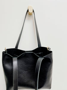 Bombshell Leather Tote Black