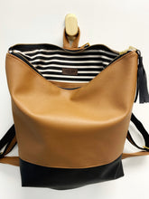 Load image into Gallery viewer, VEGAN Leather Colorblock Minimalist Backpack