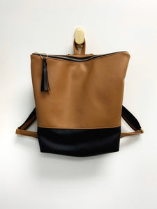 VEGAN Leather Colorblock Minimalist Backpack