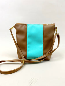 Vegan Teal & Camel Stripe Purse