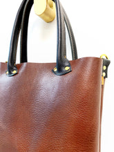 Load image into Gallery viewer, Petite Bombshell Leather Tote Chocolate