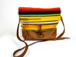 Yellow Serape and Leather and  Foldover Crossbody Purse