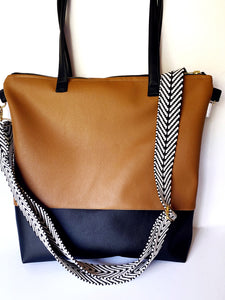Colorblock Camel Vegan Stripe Tote