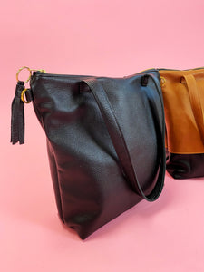 Leather All Black Minimalist Tote