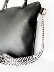 All Black Vegan Stripe Tote