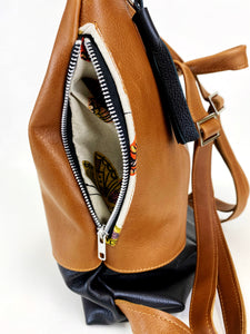Leather Colorblock Backpack