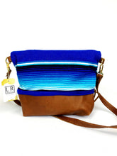 Load image into Gallery viewer, Aqua Serape and Leather and  Foldover Crossbody Purse