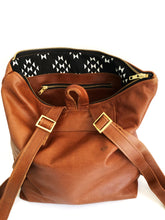Load image into Gallery viewer, Brown Leather Backpack