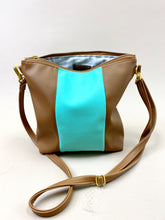 Load image into Gallery viewer, Vegan Teal & Camel Stripe Purse
