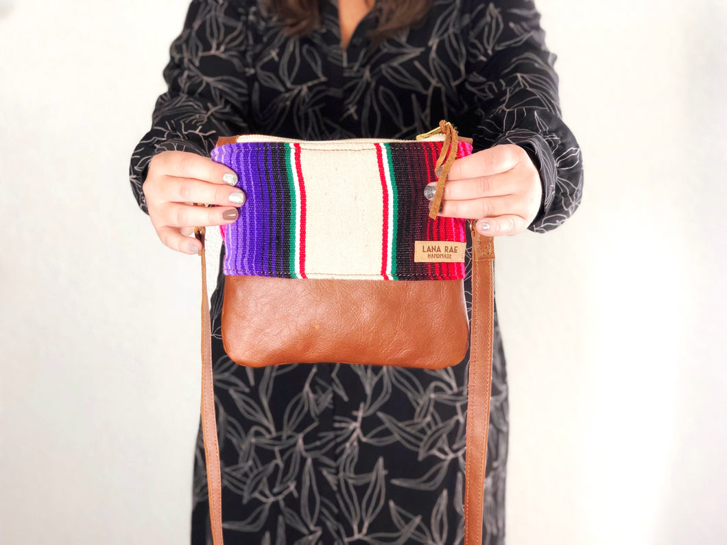 Small Tan Serape and Leather Crossbody Purse
