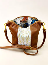 Load image into Gallery viewer, Gold Dot on White & Brown Stripe Purse