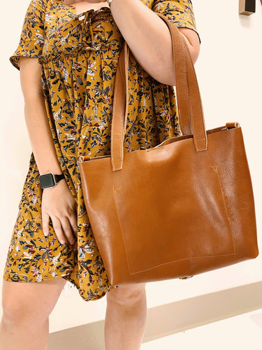 Bombshell Leather Tote Brown
