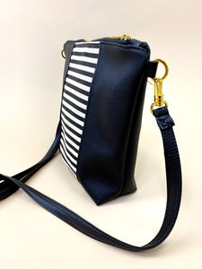 Vegan B&W Black Stripe Purse