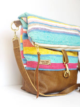 Load image into Gallery viewer, Pastel Serape and Leather and  Foldover Crossbody Purse