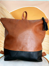 Load image into Gallery viewer, Leather Colorblock Backpack