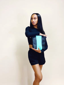 Vegan Teal & Black Stripe Purse