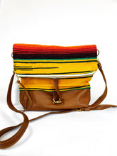 Load image into Gallery viewer, Yellow Serape and Leather and  Foldover Crossbody Purse