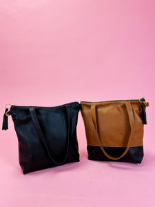 Leather Colorblock Minimalist Tote