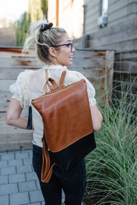 XLong Leather Colorblock Backpack