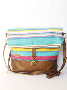 Pastel Serape and Leather and  Foldover Crossbody Purse