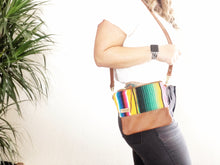 Load image into Gallery viewer, Small Yellow Serape and Leather Crossbody Purse