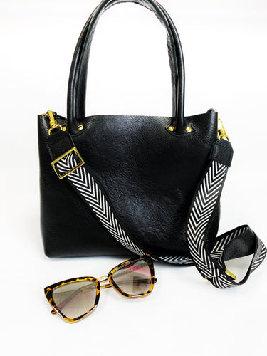 Petite Bombshell Leather Tote Black