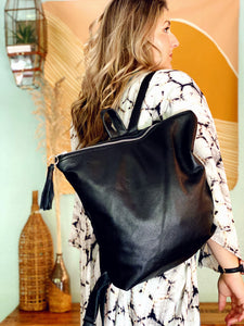 All Black Leather Backpack