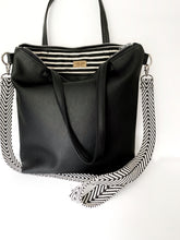 Load image into Gallery viewer, All Black Vegan Stripe Tote