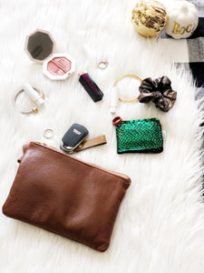 Brown  Wristlet Sling Clutch