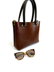 Petite Bombshell Leather Tote Chocolate