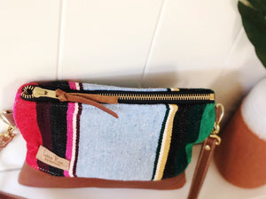 Small Light Blue  Serape and Leather Crossbody Purse