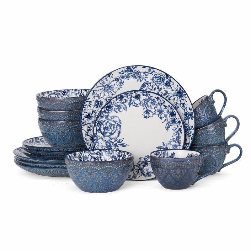Gabriela 16 Piece Dinnerware Set, Service for 4