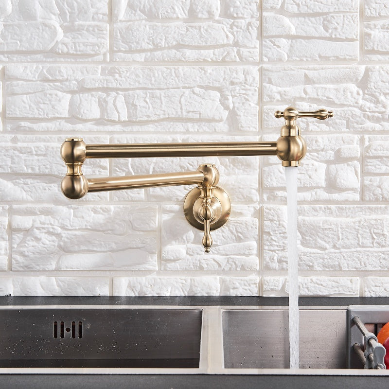 Modern Matte Gold Wall-Mounted Pot Filler