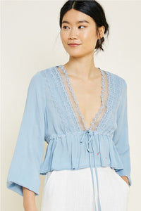 Cropped Lace Peplum Top Powder Blue