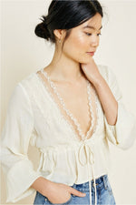 Load image into Gallery viewer, Cropped Lace Peplum Top Cream