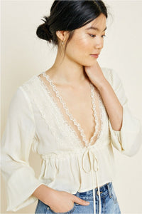Cropped Lace Peplum Top Cream