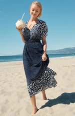 Load image into Gallery viewer, Polka-Dot Flutter Sleeve Midi Dress