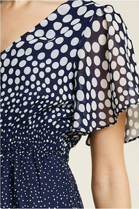 Polka-Dot Flutter Sleeve Midi Dress