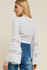 Load image into Gallery viewer, Striped Lace Bell Sleeve Wrap Top